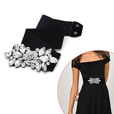 Black Waist Belt Elasticated Stretchable Women Ladies Girls Diamante Rhinestones