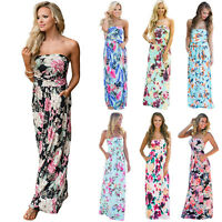 Women Floral Strapless Bandeau Long Maxi Swing Dress Party Beach Pocket Sundress