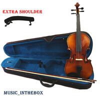 New 4/4 Student Natural brown Antique Violin+ Bow+ Case+ Rosin+ Shoulder rest