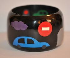 Bracelet With Building Car Red Light French Multi Color Marquetry Resin Bangle