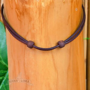 Leather Necklace Leather Band Braun Adjustable Surfer Necklace Goa