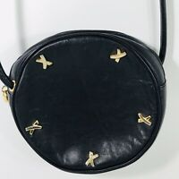 Paloma Picasso Black Canteen Round Mini Shoulder Bag Vintage