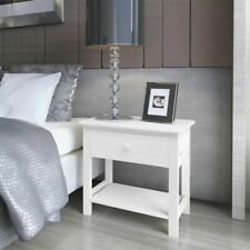 vidaXL 2x Bedside Cabinets Wood White Bedroom Nightstand Table Unit Furniture