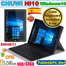 "4GB+64GB 10#-#1"" CHUWI Hi10 Tableta PC Win10 Android 5.1 Tablet PAD +Funda Teclado"