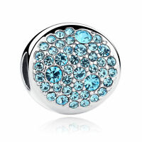 AUTHENTIC 925 Sterling Silver Round  Bling Aquamarine Crystal Charm Beads