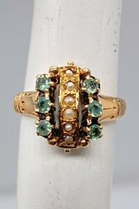 Antique Victorian $2400 Natural Russian Alexandrite Pearl 14k Yellow Gold Ring