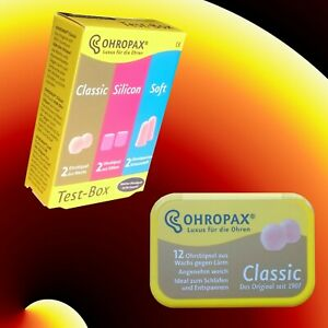 OHROPAX Testbox od. Classic 12 St. in Dose Ohrstöpsel Gehörschutz Wachs Silikon