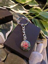 Handmade Mandala Glass & Silver Plated Keyring / bag Charm Buddhist Gift Boxed.