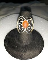 Sterling Carved Scarab Carnelian Stone Adjustable Egyptian revival ring