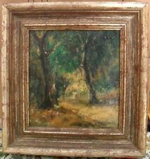 """Rocco Carvelli - """"Sentiero nel bosco"""" dipinto a olio su tavola cm. 19 x 20,5"""