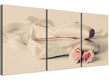 Ballet Shoes Pink Cream Shabby Chic Girls Bedroom Canvas Split 3 Part - 3283