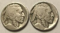 1913-S & 1913-D Type 1 (5 Cents On Raised Ground) Buffalo Nickels No Dates