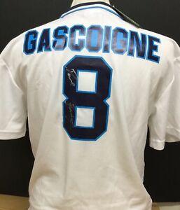 PAUL GASCOIGNE SIGNED ENGLAND EURO 96 #8 FOOTBALL SHIRT PROOF READ DESCRIPTION