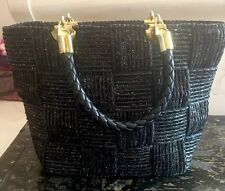 POLLINI Handbag, Made In ITALY, Black Weave With Gold Thread.  Vintage Elegance.