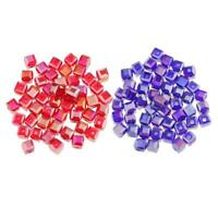100 Pcs Crystal Beads Square Glaze Glass Bead 6 mm Loose Beads Blue & Red