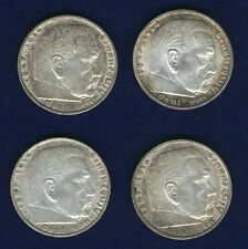 GERMANY THIRD REICH  5 REICHSMARK SILVER COINS: 1935-A-D-G-J, GROUP LOT OF (4)