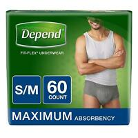 FIT-FLEX Incontinence Underwear for Men, Maximum Absorbency, S/M, Gray, 60 Count