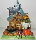Vtg Halloween Assemblege Upcycle Display Pumpkin King House Fell on Witch 6'