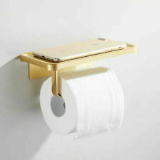 Wall Mounted Brushed Gold Toilet Paper Holder Aluminum Paper Roll Holder Rack