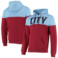 Manchester City Official Men's OTH Pullover Cut and Sew Hoodie - Sky/Maroon New