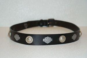 Vintage Harley-Davidson Black Genuine Leather Belt w/ Metal Medallions Size 42