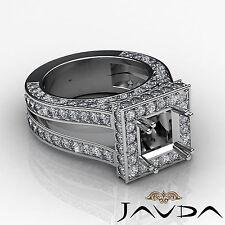 Diamond Engagement Ring Princess Shape Semi Mount 14k W Gold Halo Setting 2.5Ct