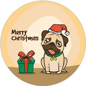 48X SANTA DOG MERRY CHRISTMAS GIFT WATERPROOF STICKERS LABELS SEALS 40MM SNP43