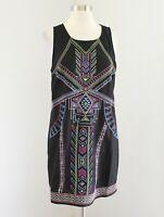 Flying Tomato Black Geometric Tribal Embroidered Tunic Shift Dress Size M Boho