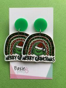 Rainbow Merry Grinchmas Grinch Style Dangle Earrings, Green Acrylic, Stud Back