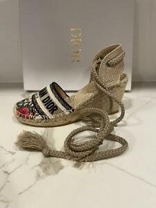DIOR Granville Mille Fleurs Floral Embroidered Espadrille Wedge Heels Shoes $890