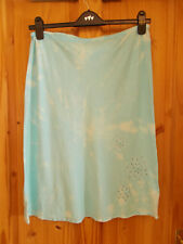 BHS turquoise aqua mint tie-dye midi knee floral cut out summer holiday skirt 12