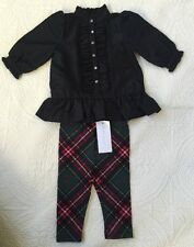 Ralph Lauren Black Ruffed Shirt With Plaid Leggings Size 3 Months