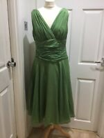 MONSOON Dress Size16/44 CAMILLE Apple Green Vintage 50's Flare Style Silk Blend