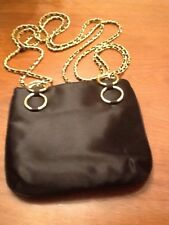 Magid Black  Evening Shoulder Bag/Purse with Gold Trim, Gold Rings And Chain