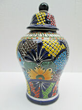 Ginger Jar, kitchen deco, colorful mexican talavera, tibor vase handmade ceramic