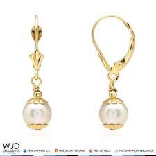 14k Solid Yellow Gold Freshwater Pearl Dangle Leverback Earrings 7mm