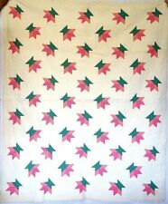 "Vintage~FINELY HAND STITCHED PIECED FLOWER PATCHWORK QUILT 82"" X 70""'"