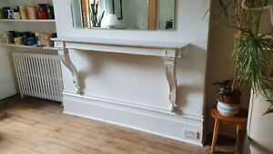 Huge Original Victorian Painted Wall Shelf Side Table With Marble Entryway
