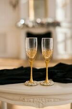 Flutes For Wedding Glass Wedding Party Crystal Gold Wedding Glasses Anniversary