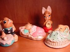 Lot of 4 Bunny Rabbit Figurines Vintage Hand Painted Pendelfin England