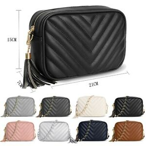 Women's Quilted Small Crossbody Bag Ladies Gold Chain Leather Shoulder Handbags