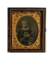 Cased tintype of boy holding a photo CDV PIP Victorian Photo
