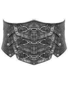 Devil Fashion Mens Dieselpunk Gothic Belt Corset Girdle Silver Grey Faux Leather