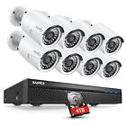 SANNCE 5MP 8CH NVR 1080P POE Security Camera System Audio Recording EXIR Outdoor