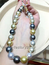 """AAAAA 18""""10-11mm round Natural REAL south sea Multicolor pearl necklace 14K gold"""