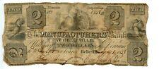 1838. Belleville, New Jersey $2 Manufactures Bank.