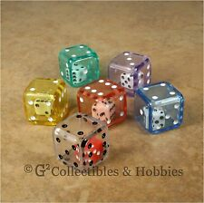 New Set of 6 Double Dice - 6 Colors Rpg D&D Game Math 19mm 3/4 inch Large D6