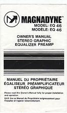 VINTAGE MAGNADYNE MODEL: EQ 46 STEREO GRAPHIC EQUALIZER PREAMP OWNER'S MANUAL