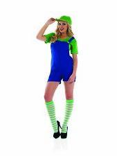 Womens Super Mario Bros Luigi Costume Ladies 80s Green Plumber Retro Fancy Dress
