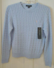RALPH LAUREN LADIES LIGHT BLUE CABLE KNIT SWEATER SIZE SMALL NEW WITH TAGS